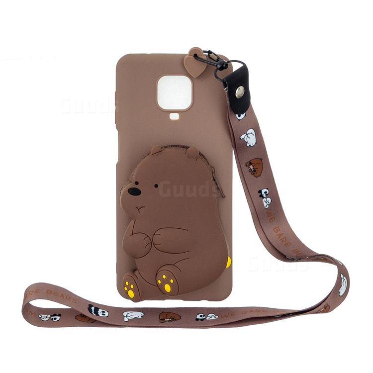 Brown Bear Neck Lanyard Zipper Wallet Silicone Case for Xiaomi Redmi Note 9s / Note9 Pro / Note 9 Pro Max