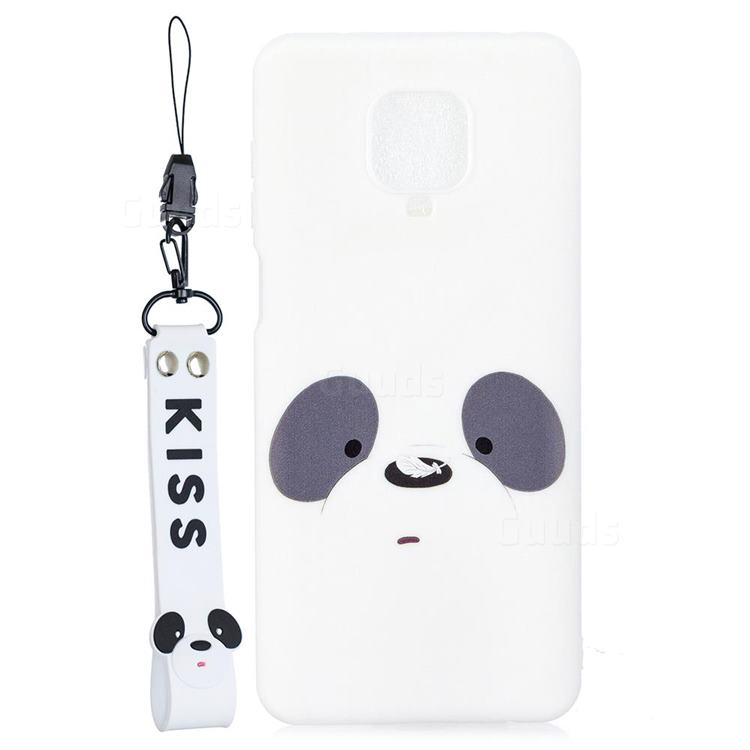 White Feather Panda Soft Kiss Candy Hand Strap Silicone Case for Xiaomi Redmi Note 9s / Note9 Pro / Note 9 Pro Max