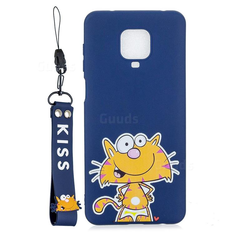 Blue Cute Cat Soft Kiss Candy Hand Strap Silicone Case for Xiaomi Redmi Note 9s / Note9 Pro / Note 9 Pro Max