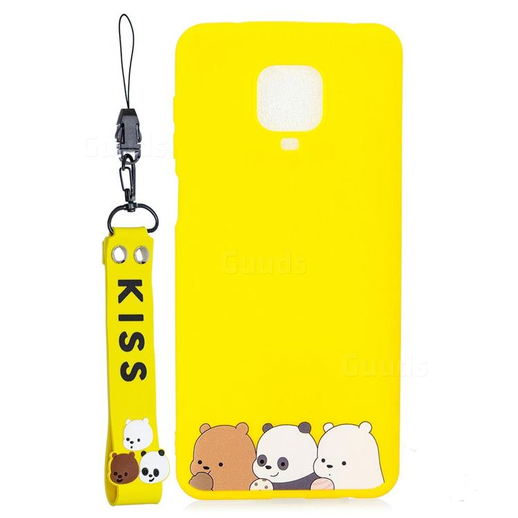 Yellow Bear Family Soft Kiss Candy Hand Strap Silicone Case for Xiaomi Redmi Note 9s / Note9 Pro / Note 9 Pro Max