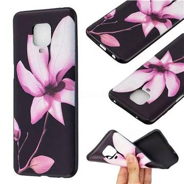 Lotus Flower 3D Embossed Relief Black Soft Back Cover for Xiaomi Redmi Note 9s / Note9 Pro / Note 9 Pro Max