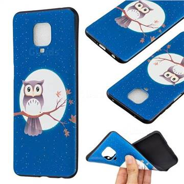 Moon and Owl 3D Embossed Relief Black Soft Back Cover for Xiaomi Redmi Note 9s / Note9 Pro / Note 9 Pro Max