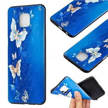 Golden Butterflies 3D Embossed Relief Black Soft Back Cover for Xiaomi Redmi Note 9s / Note9 Pro / Note 9 Pro Max