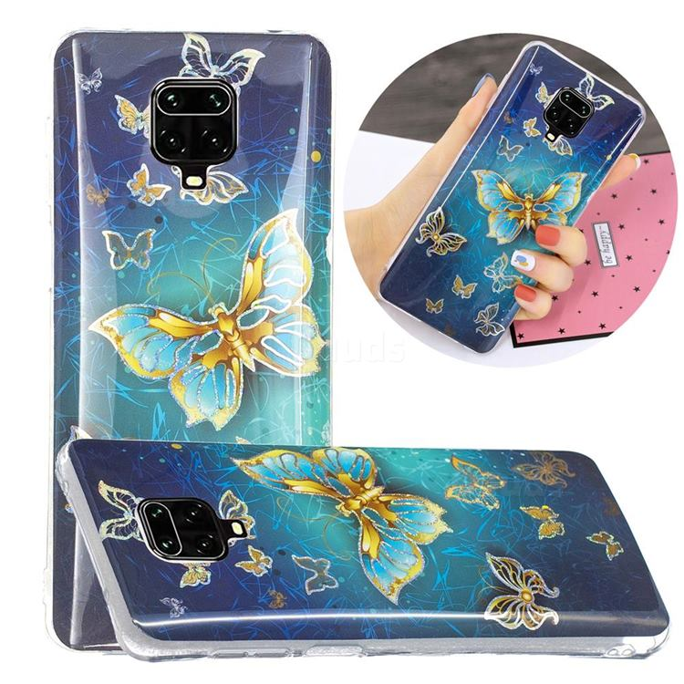 Golden Butterfly Painted Galvanized Electroplating Soft Phone Case Cover for Xiaomi Redmi Note 9s / Note9 Pro / Note 9 Pro Max