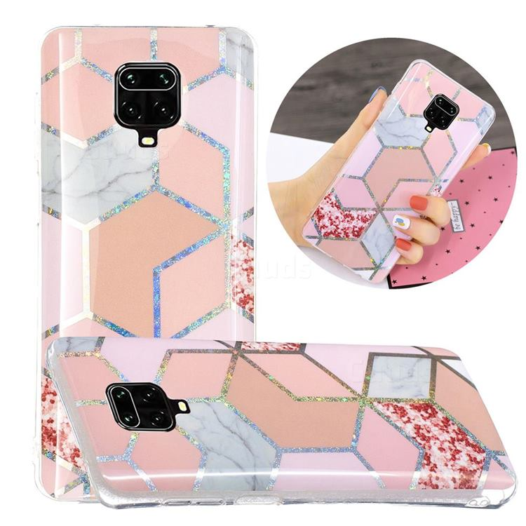 Pink Marble Painted Galvanized Electroplating Soft Phone Case Cover for Xiaomi Redmi Note 9s / Note9 Pro / Note 9 Pro Max