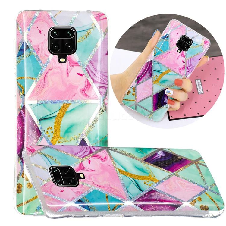 Triangular Marble Painted Galvanized Electroplating Soft Phone Case Cover for Xiaomi Redmi Note 9s / Note9 Pro / Note 9 Pro Max