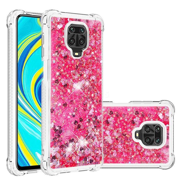 Dynamic Liquid Glitter Sand Quicksand TPU Case for Xiaomi Redmi Note 9s / Note9 Pro / Note 9 Pro Max - Pink Love Heart