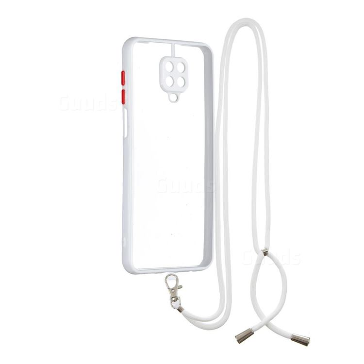 Necklace Cross-body Lanyard Strap Cord Phone Case Cover for Xiaomi Redmi Note 9s / Note9 Pro / Note 9 Pro Max - White