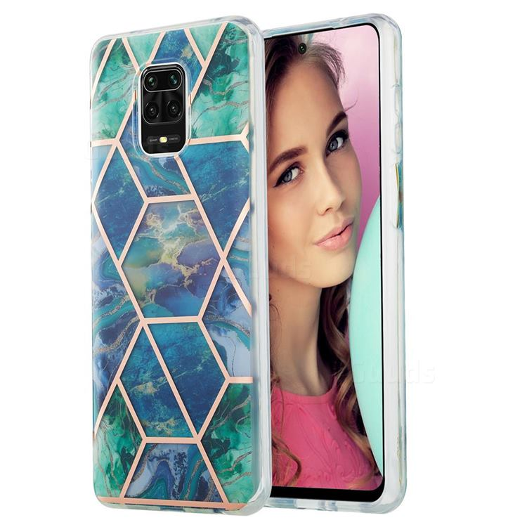 Blue Green Marble Pattern Galvanized Electroplating Protective Case Cover for Xiaomi Redmi Note 9s / Note9 Pro / Note 9 Pro Max