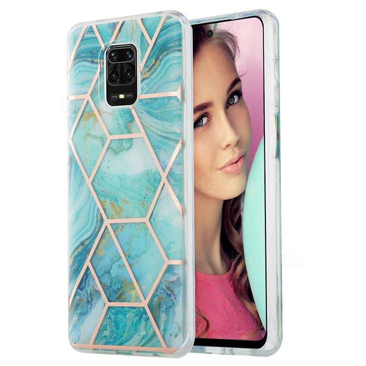 Blue Sea Marble Pattern Galvanized Electroplating Protective Case Cover for Xiaomi Redmi Note 9s / Note9 Pro / Note 9 Pro Max