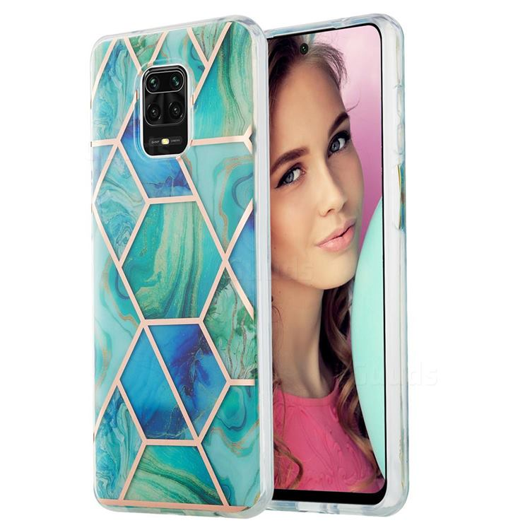 Green Glacier Marble Pattern Galvanized Electroplating Protective Case Cover for Xiaomi Redmi Note 9s / Note9 Pro / Note 9 Pro Max