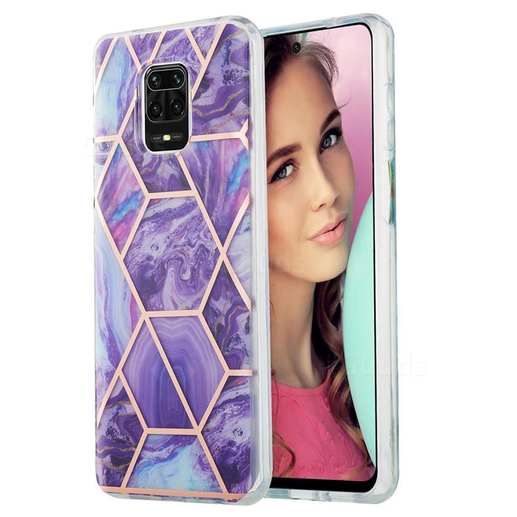 Purple Gagic Marble Pattern Galvanized Electroplating Protective Case Cover for Xiaomi Redmi Note 9s / Note9 Pro / Note 9 Pro Max