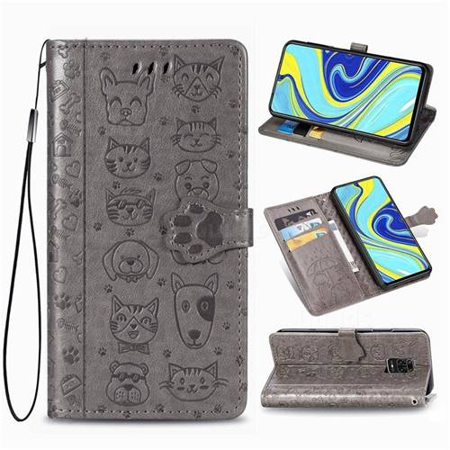 Embossing Dog Paw Kitten and Puppy Leather Wallet Case for Xiaomi Redmi Note 9s / Note9 Pro / Note 9 Pro Max - Gray