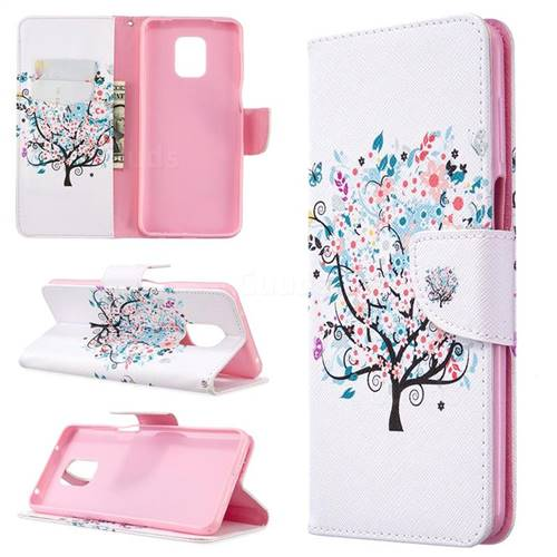 Colorful Tree Leather Wallet Case for Xiaomi Redmi Note 9s / Note9 Pro / Note 9 Pro Max