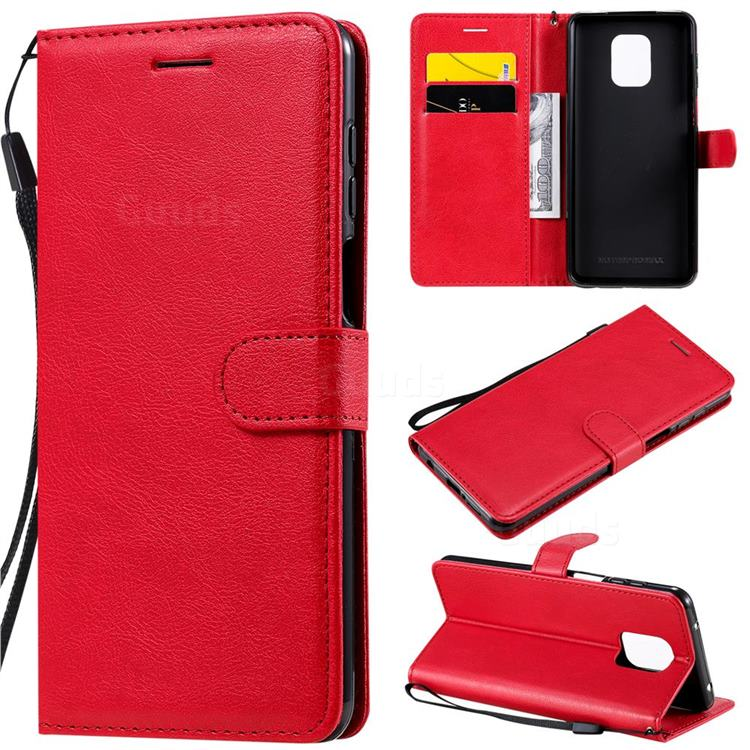 Retro Greek Classic Smooth PU Leather Wallet Phone Case for Xiaomi Redmi Note 9s / Note9 Pro / Note 9 Pro Max - Red