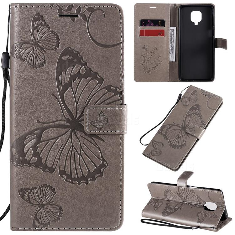 Embossing 3D Butterfly Leather Wallet Case for Xiaomi Redmi Note 9s / Note9 Pro / Note 9 Pro Max - Gray