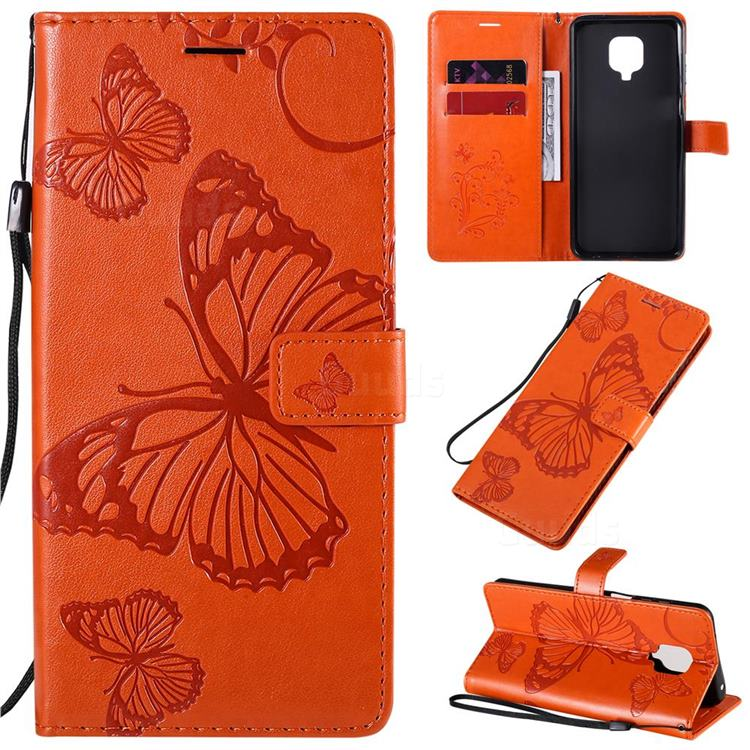 Embossing 3D Butterfly Leather Wallet Case for Xiaomi Redmi Note 9s / Note9 Pro / Note 9 Pro Max - Orange