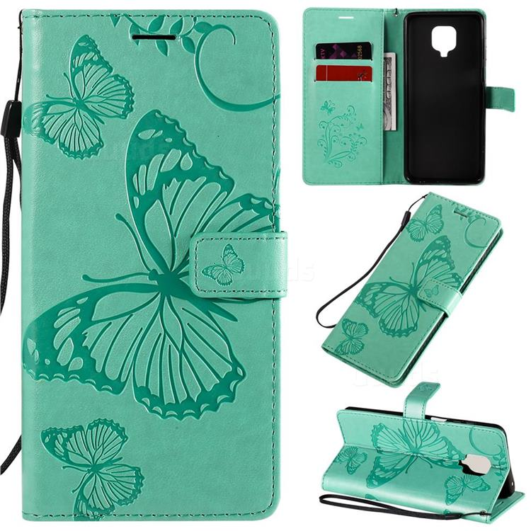 Embossing 3D Butterfly Leather Wallet Case for Xiaomi Redmi Note 9s / Note9 Pro / Note 9 Pro Max - Green