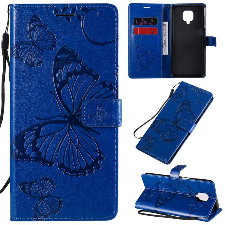 Embossing 3D Butterfly Leather Wallet Case for Xiaomi Redmi Note 9s / Note9 Pro / Note 9 Pro Max - Blue