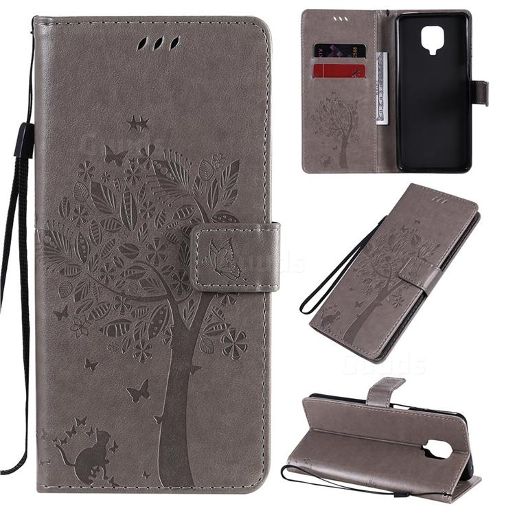 Embossing Butterfly Tree Leather Wallet Case for Xiaomi Redmi Note 9s / Note9 Pro / Note 9 Pro Max - Grey