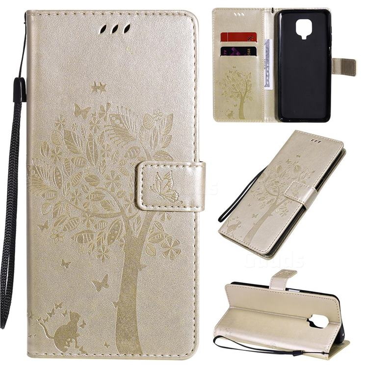 Embossing Butterfly Tree Leather Wallet Case for Xiaomi Redmi Note 9s / Note9 Pro / Note 9 Pro Max - Champagne
