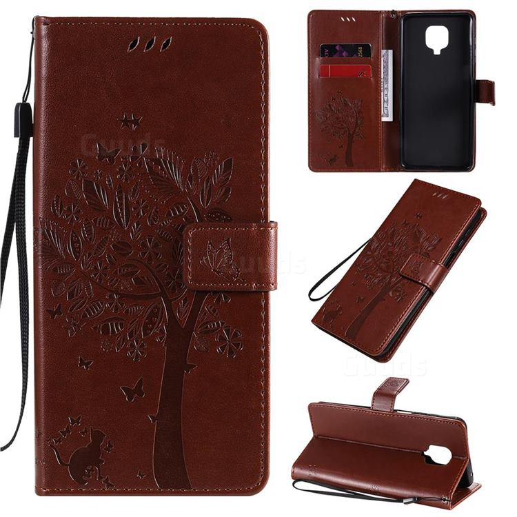 Embossing Butterfly Tree Leather Wallet Case for Xiaomi Redmi Note 9s / Note9 Pro / Note 9 Pro Max - Coffee