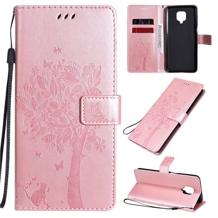Embossing Butterfly Tree Leather Wallet Case for Xiaomi Redmi Note 9s / Note9 Pro / Note 9 Pro Max - Rose Pink