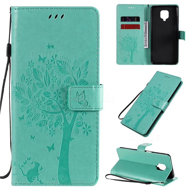 Embossing Butterfly Tree Leather Wallet Case for Xiaomi Redmi Note 9s / Note9 Pro / Note 9 Pro Max - Cyan