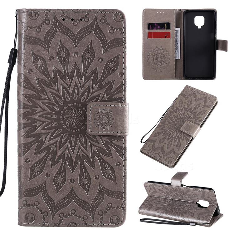 Embossing Sunflower Leather Wallet Case for Xiaomi Redmi Note 9s / Note9 Pro / Note 9 Pro Max - Gray