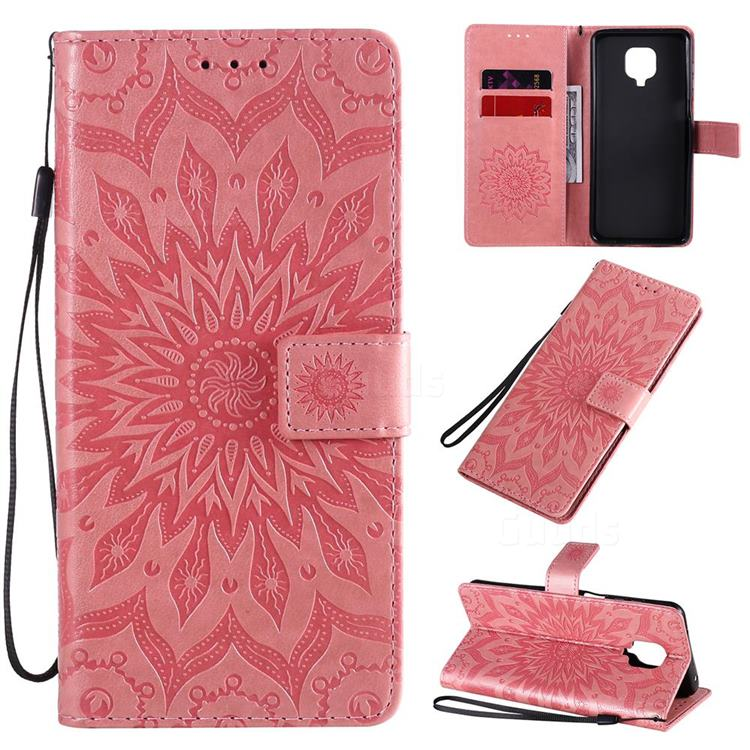 Embossing Sunflower Leather Wallet Case for Xiaomi Redmi Note 9s / Note9 Pro / Note 9 Pro Max - Pink
