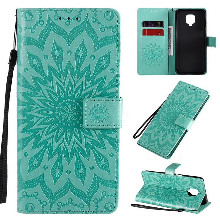 Embossing Sunflower Leather Wallet Case for Xiaomi Redmi Note 9s / Note9 Pro / Note 9 Pro Max - Green
