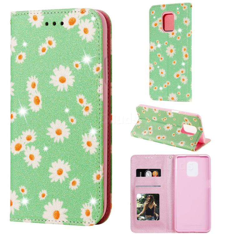 Ultra Slim Daisy Sparkle Glitter Powder Magnetic Leather Wallet Case for Xiaomi Redmi Note 9s / Note9 Pro / Note 9 Pro Max - Green