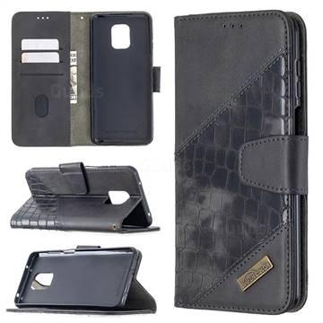 BinfenColor BF04 Color Block Stitching Crocodile Leather Case Cover for Xiaomi Redmi Note 9s / Note9 Pro / Note 9 Pro Max - Black