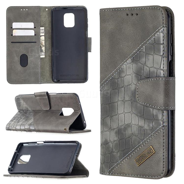 BinfenColor BF04 Color Block Stitching Crocodile Leather Case Cover for Xiaomi Redmi Note 9s / Note9 Pro / Note 9 Pro Max - Gray