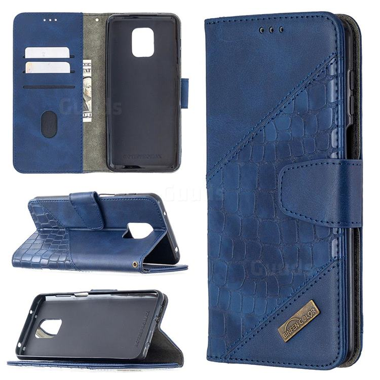 BinfenColor BF04 Color Block Stitching Crocodile Leather Case Cover for Xiaomi Redmi Note 9s / Note9 Pro / Note 9 Pro Max - Blue