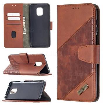 BinfenColor BF04 Color Block Stitching Crocodile Leather Case Cover for Xiaomi Redmi Note 9s / Note9 Pro / Note 9 Pro Max - Brown