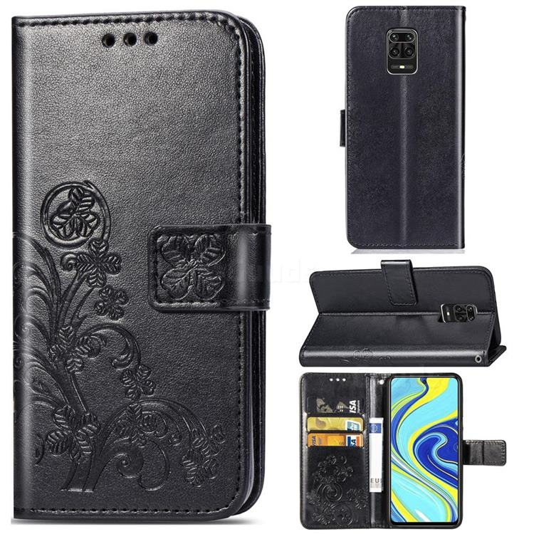 Embossing Imprint Four-Leaf Clover Leather Wallet Case for Xiaomi Redmi Note 9s / Note9 Pro / Note 9 Pro Max - Black