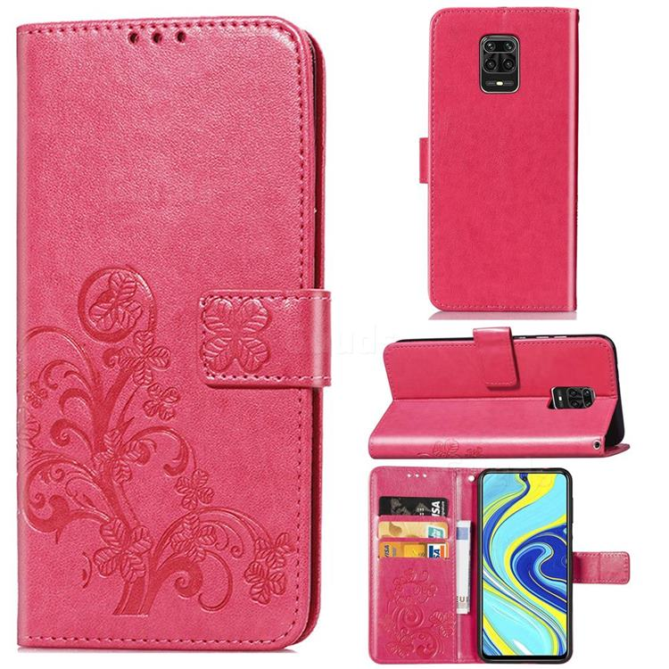Embossing Imprint Four-Leaf Clover Leather Wallet Case for Xiaomi Redmi Note 9s / Note9 Pro / Note 9 Pro Max - Rose Red