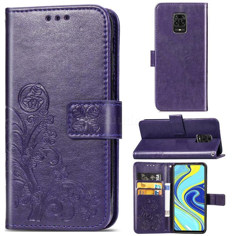 Embossing Imprint Four-Leaf Clover Leather Wallet Case for Xiaomi Redmi Note 9s / Note9 Pro / Note 9 Pro Max - Purple