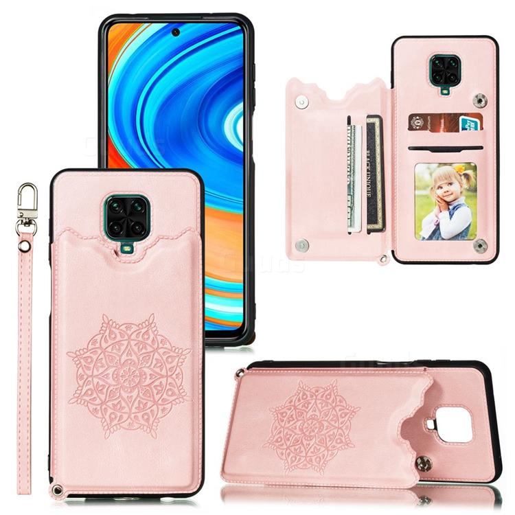 Luxury Mandala Multi-function Magnetic Card Slots Stand Leather Back Cover for Xiaomi Redmi Note 9s / Note9 Pro / Note 9 Pro Max - Rose Gold