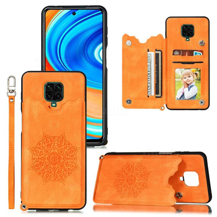 Luxury Mandala Multi-function Magnetic Card Slots Stand Leather Back Cover for Xiaomi Redmi Note 9s / Note9 Pro / Note 9 Pro Max - Yellow
