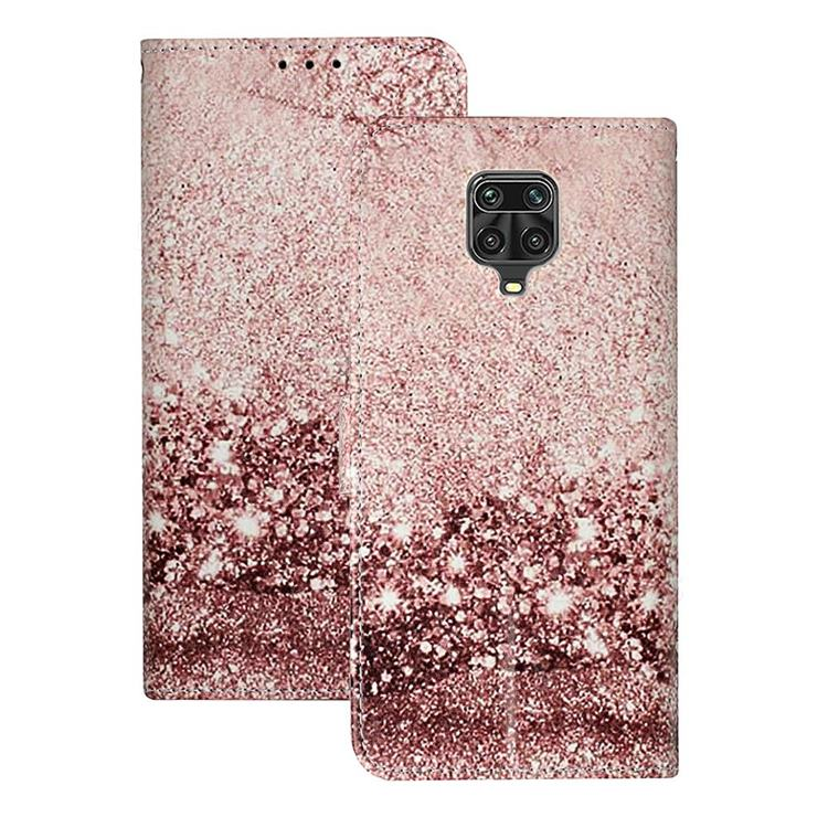 Glittering Rose Gold PU Leather Wallet Case for Xiaomi Redmi Note 9s / Note9 Pro / Note 9 Pro Max