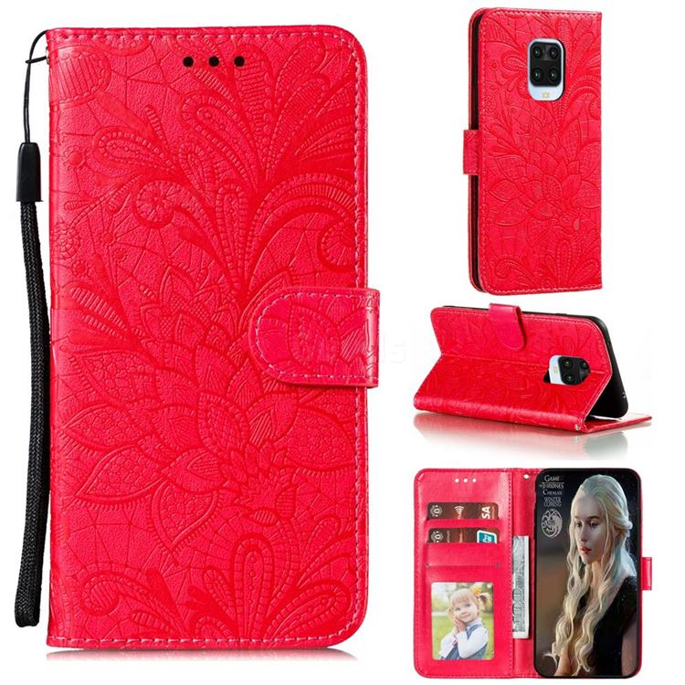 Intricate Embossing Lace Jasmine Flower Leather Wallet Case for Xiaomi Redmi Note 9s / Note9 Pro / Note 9 Pro Max - Red