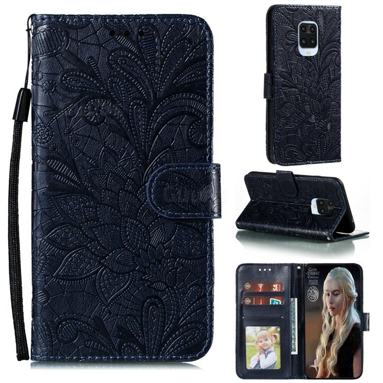 Intricate Embossing Lace Jasmine Flower Leather Wallet Case for Xiaomi Redmi Note 9s / Note9 Pro / Note 9 Pro Max - Dark Blue