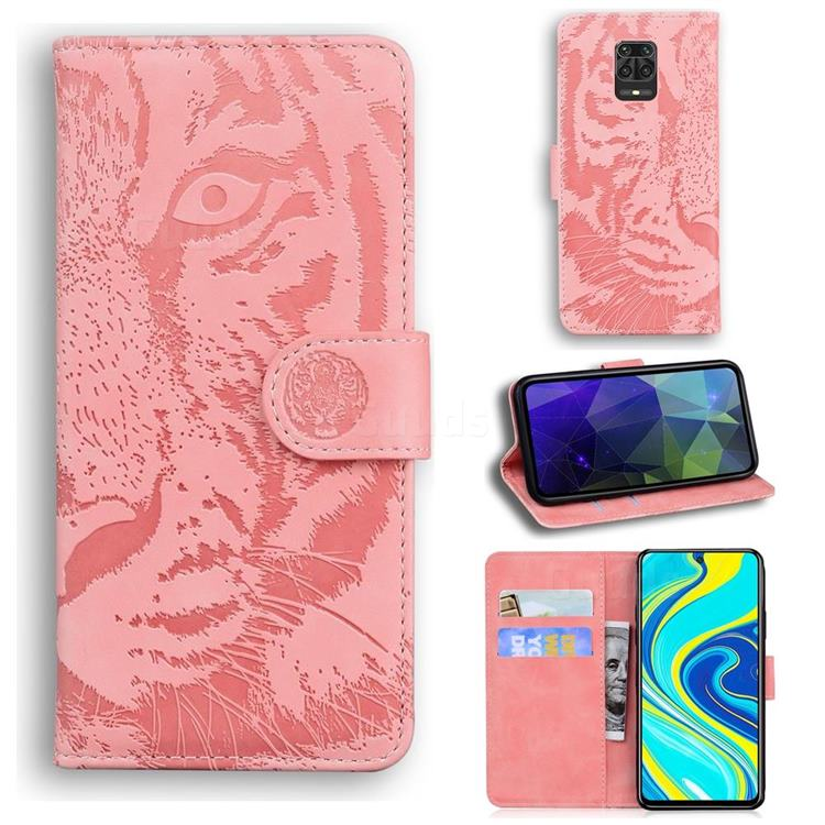 Intricate Embossing Tiger Face Leather Wallet Case for Xiaomi Redmi Note 9s / Note9 Pro / Note 9 Pro Max - Pink