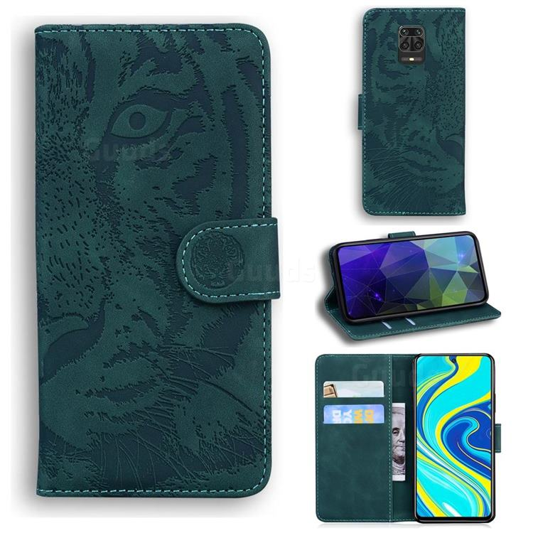 Intricate Embossing Tiger Face Leather Wallet Case for Xiaomi Redmi Note 9s / Note9 Pro / Note 9 Pro Max - Green