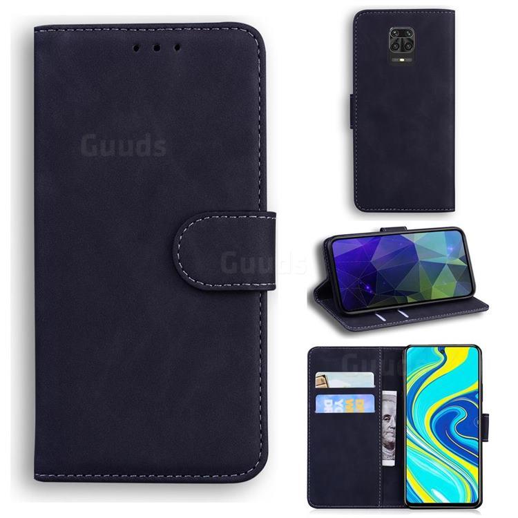 Retro Classic Skin Feel Leather Wallet Phone Case for Xiaomi Redmi Note 9s / Note9 Pro / Note 9 Pro Max - Black