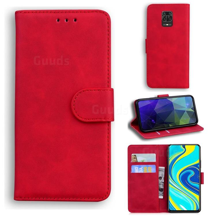 Retro Classic Skin Feel Leather Wallet Phone Case for Xiaomi Redmi Note 9s / Note9 Pro / Note 9 Pro Max - Red
