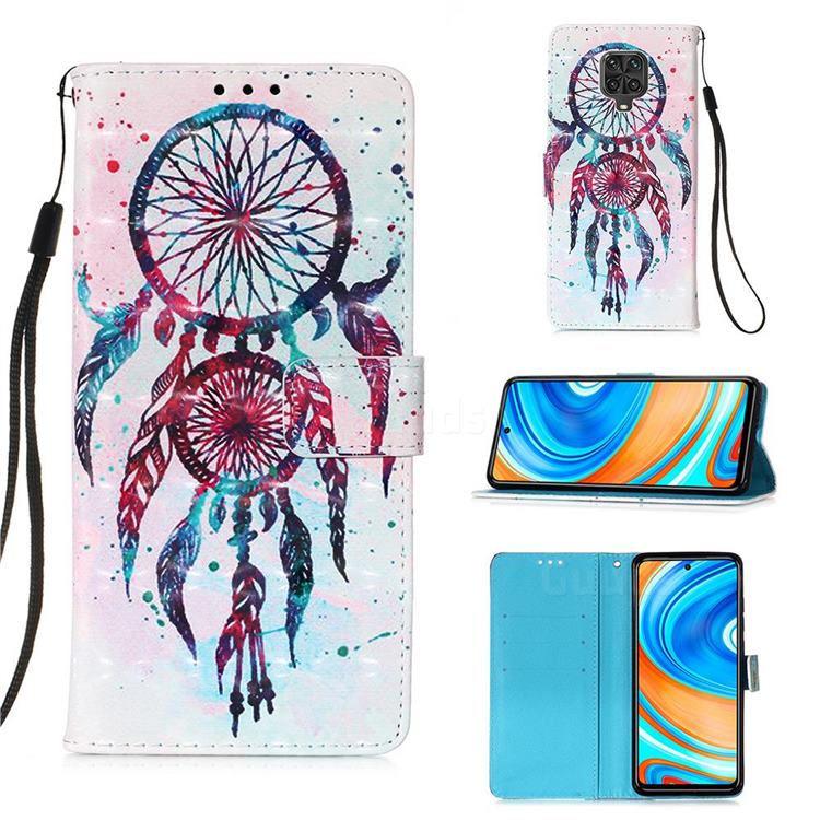 ColorDrops Wind Chimes 3D Painted Leather Wallet Case for Xiaomi Redmi Note 9s / Note9 Pro / Note 9 Pro Max