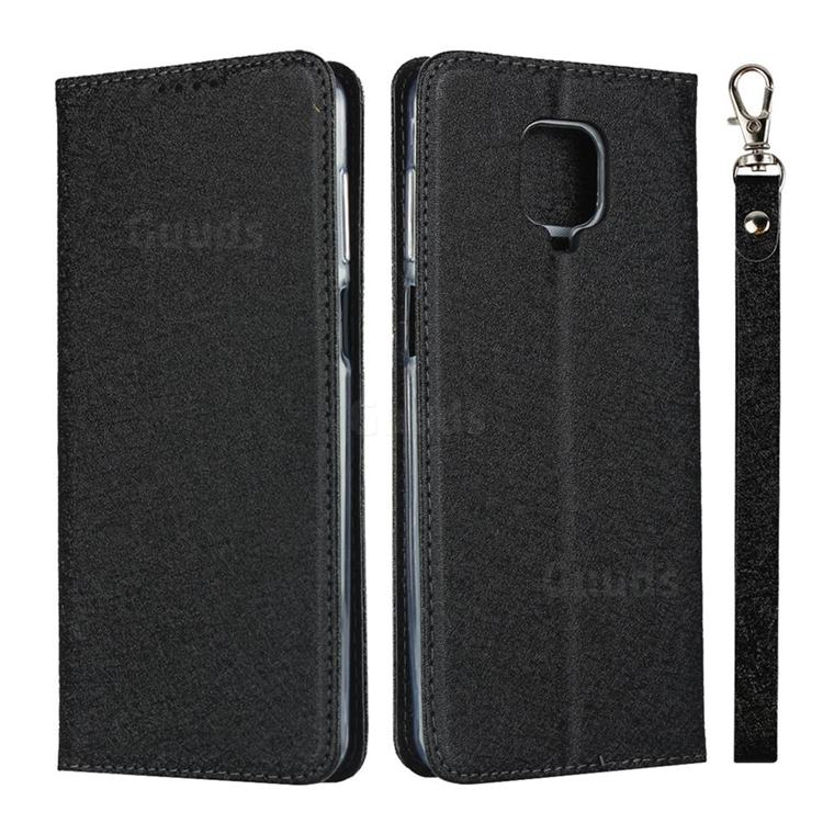 Ultra Slim Magnetic Automatic Suction Silk Lanyard Leather Flip Cover for Xiaomi Redmi Note 9s / Note9 Pro / Note 9 Pro Max - Black